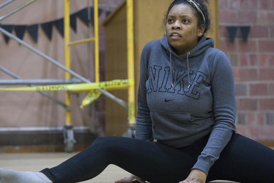 Mariah Scott, a junior communication studies major, practices her dance for her creative expression piece during the rehearsal for Miss Black EIU 2015 on Feb. 18.