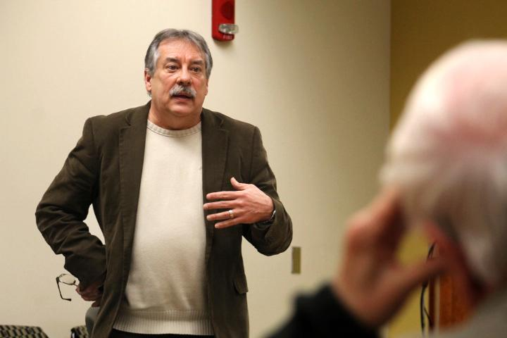 Dr. Terry Barnhart, a professor of history, answers a question during the American Captivity Narratives: A Literary Genre of Enduring Interests panel discussion on Monday in the Witters Conference Room of the Mary J. Booth Library.