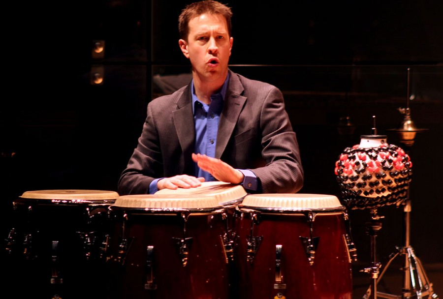 Jamie Ryan, an assistant professor in the music department, plays a percussion instrument in the Faculty Recital Series in the Doudna Fine Arts Center Saturday in the Recital Hall. Ryan performed several solo pieces of work and duo.