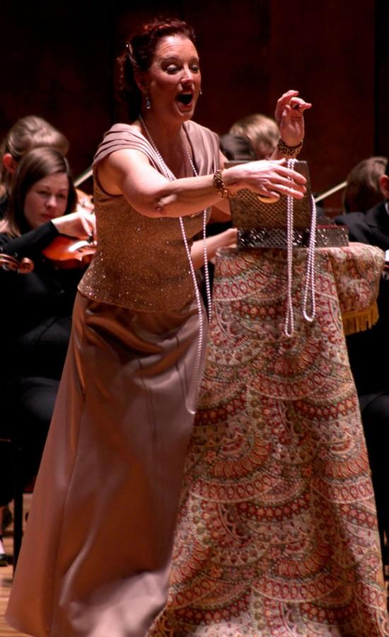 """Regina Rossi, who was the soprano singer in Stagestruck, sings """"Glitter and be Gay"""" from Candide in the performance in the Doudna Fine Arts Center Sun. in the Dvorak Concert Hall."""