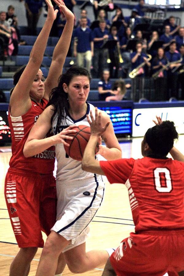 Sabina Orosova, a senior forward, attempts to get through the defense in the women's basketball game Saturday against Southeast Missouri in Lantz Arena. Orosova scored 22 points in the game.