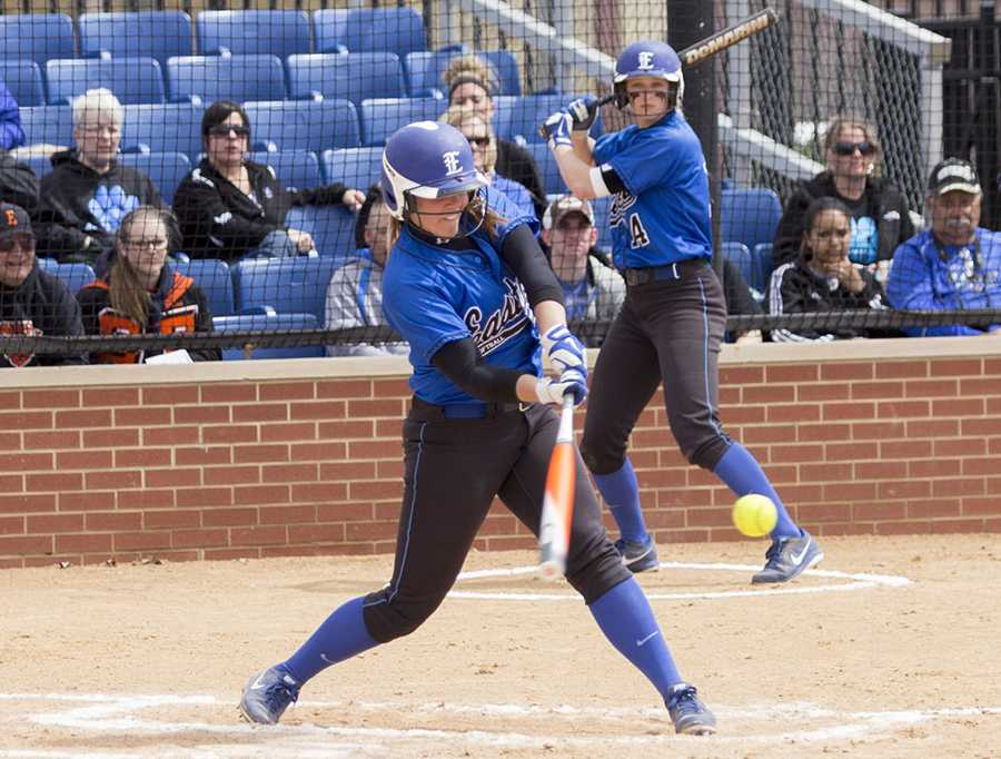 Senior catcher Hannah Cole swings away during a game on April. 6 at Williams Field.  The Panthers won the doubleheader against Morehead State 8-1 and 14-0.