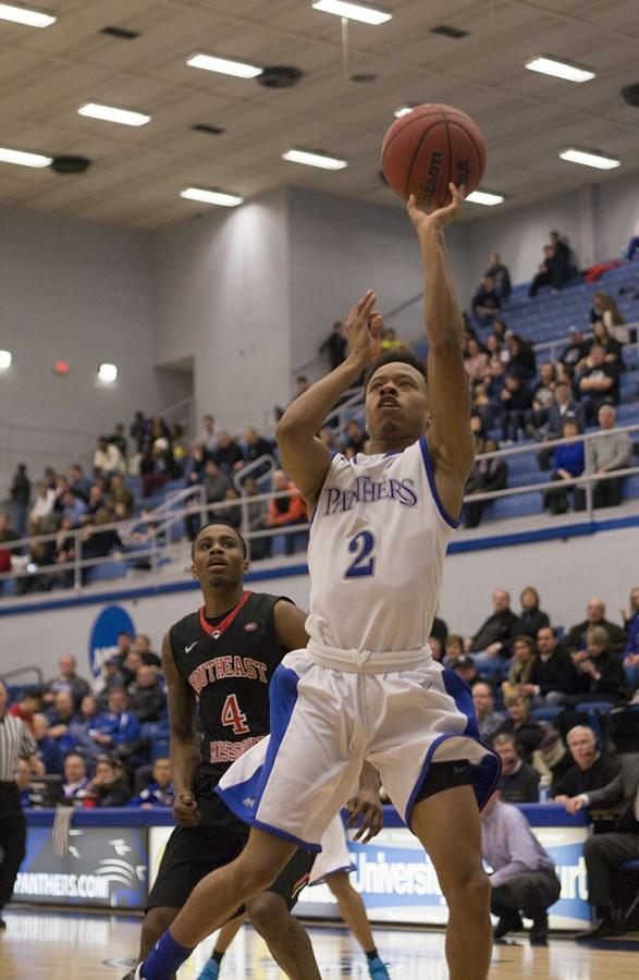 Freshman guard Cornell Johnston goes up for a layup in the game against Southeast Missouri on Feb. 22 in Lantz Arena. Johnston was named OVC Men's Basketball Freshman of the Year on Tuesday.