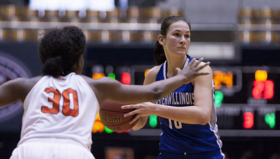 Senior forward Sabina Oroszova looks for an open teammate during the Panthers 68-35 loss to Tennessee-Martin in round one of the Ohio Valley Conference Womens Basketball Championship on Wednesday in Nashville, Tenn.  Oroszova remained scoreless throughout the entire game.