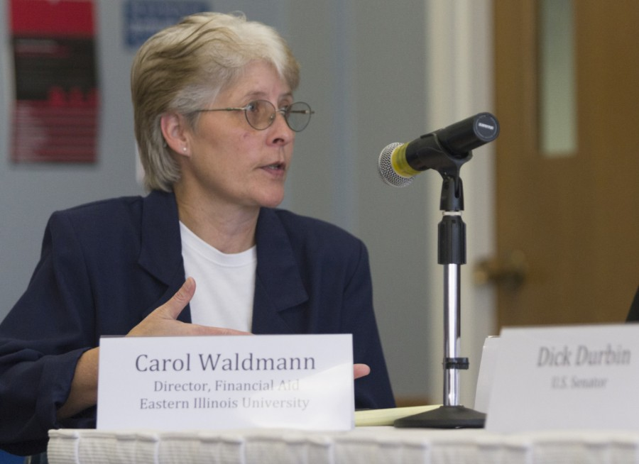 Carol+Waldmann%2C+interim+director+of+financial+aid%2C+participates+in+a+panel+discussion+on+Sept.+25+that+included+Eastern+president+Bill+Perry+and+Sen.+Dick+Durbin+%28D-IL%29+in+the+Arcola-Tuscola+Room+of+the+Martin+Luther+King+Jr.+University+Union.