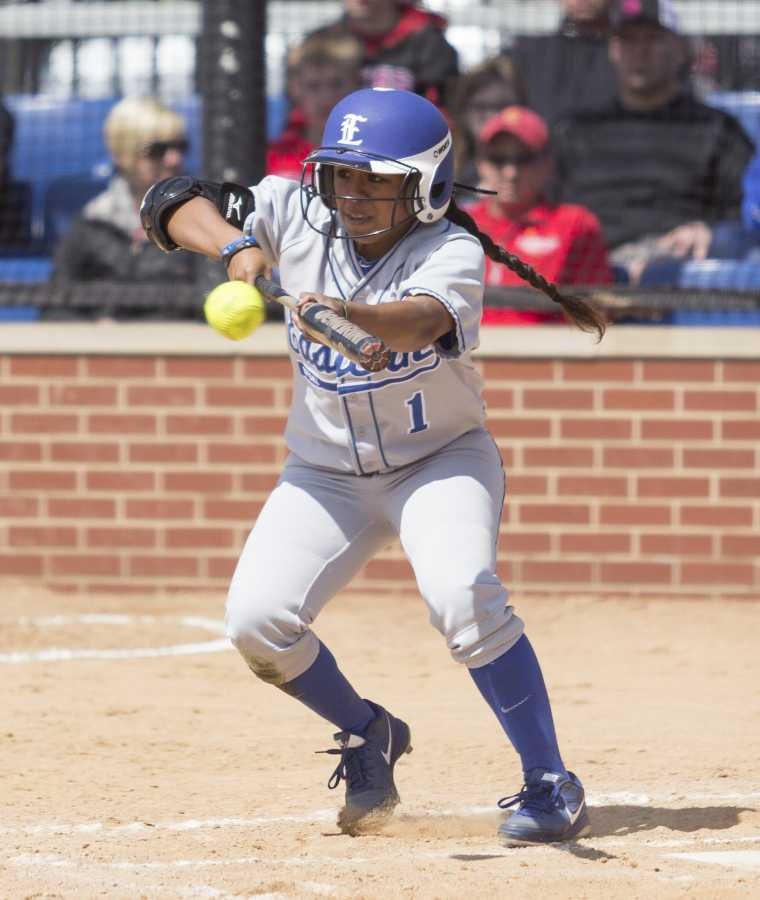 Junior outfielder Jennette Isaac bunts in a game on April 5 against Eastern Kentucky at Williams Field.  The Panthers split the doubleheader 2-1 and 1-0.