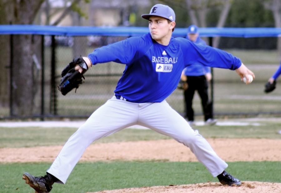 Hunter Clark, a freshman pitcher, prepares to throw the ball Wednesday in the Panthers' scrimmage game at Coaches Stadium. The Panthers will be up against Murray State Friday, March 27, 2015 at Coaches Stadium.