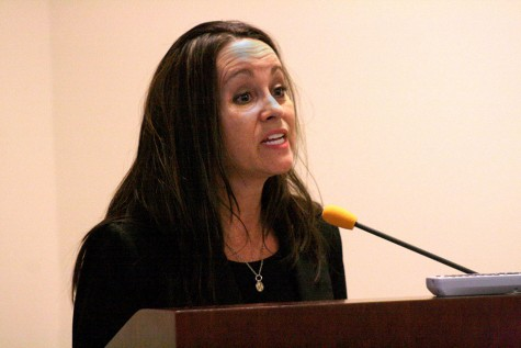 Historian Stacy McDermott speaks of how forward thinking Mary Todd Lincoln was during her presentation Friday in room 1849 of the Martin Luther King Jr. University Union.
