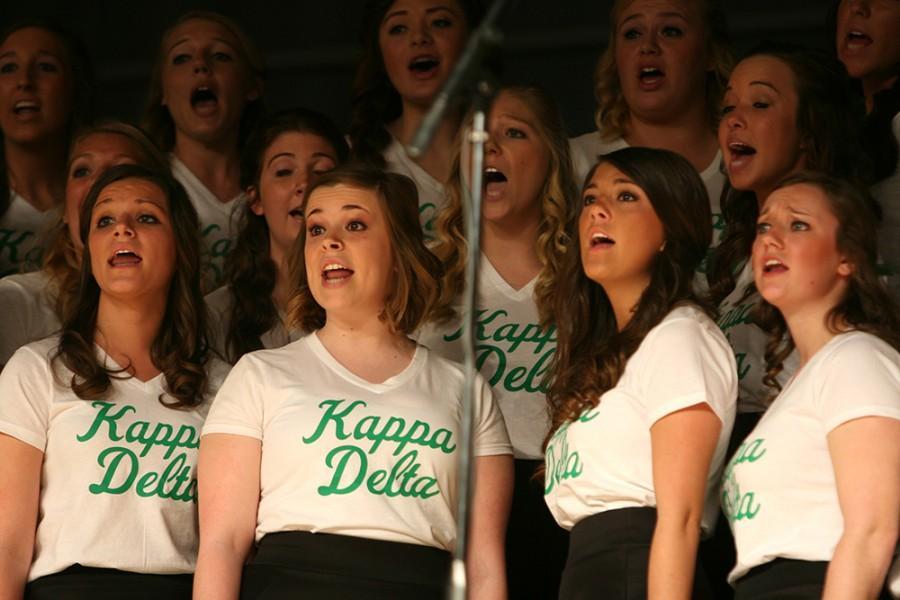 Members of Kappa Delta performs songs during Greek Sing on April 6, 2014 in Lantz Arena.