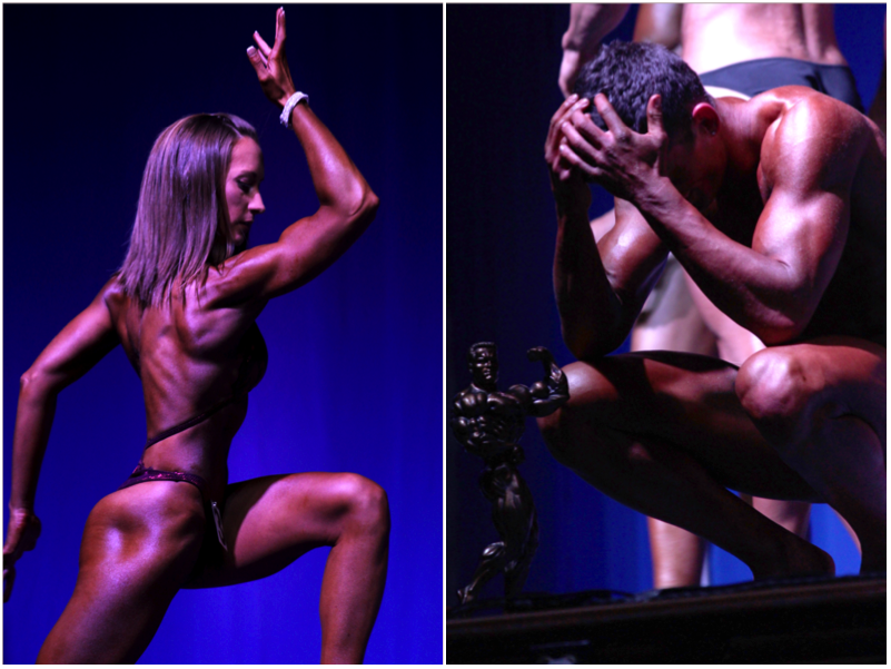 (Left) Amanda White, the 3rd competitor and winner of the Ms.Physique Competition, poses during the Mr. EIU. (Right)  Alex Westerman, Mr.EIU 2015, squats down after accepting his trophy for Mr.EIU Saturday in McAfee Gym.