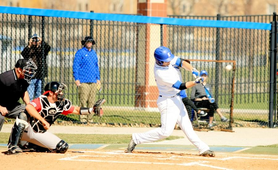 Brant Valach, an infielderfor the Panthers, swings at a pitch in the game against Illinois State University Tuesday at Coaches Stadium. The Panthers now have a record of 0-21.