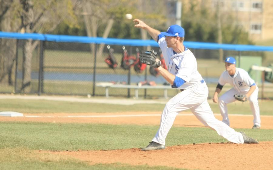 Junior pitcher Matt Doherty pitches in the Panthers game Tuesday at Coaches Stadium against Illinois State. Doherty had three hits in the game.