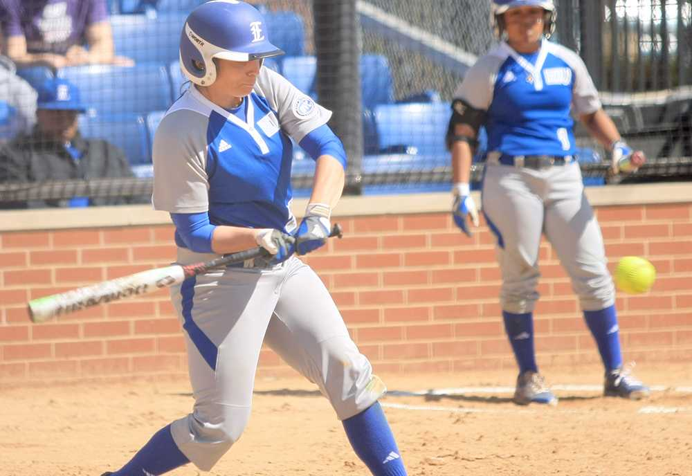 April Markowski, an outfielder, attempts to get a hit the softball game against Murray State Monday at Williams Field. The Panthers currently have a record of 10-16.