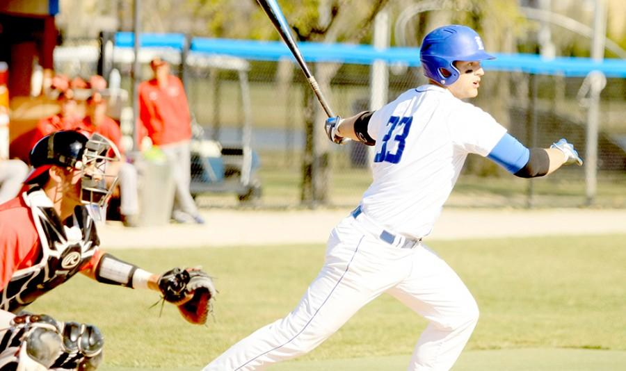 Brandt Valach, a senior infielder, looks to run to first base in the Panhers game Tuesday against Illinois State at Coaches Stadium. Valach had two hits in the game.