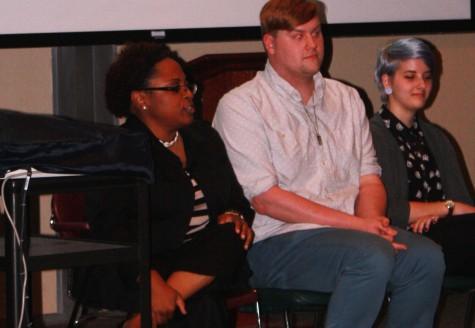 Gateway Program's academic advisor, Yolanda Williams, Eastern alumni Josh Doleiu, and Ashlee Bell, sociology major, share their 'coming out' story during The Big Gay Panel in Buzzard Hall auditorium.