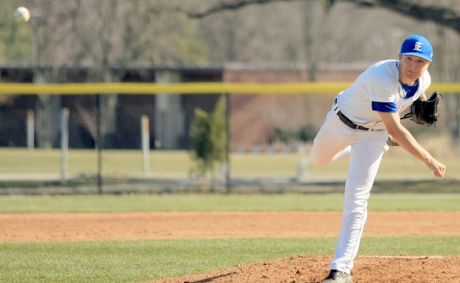 Matt Wivinis, a red-shirt junior pitcher, pitches in the game Tues. April 2 against Illinois State at Coaches Stadium.