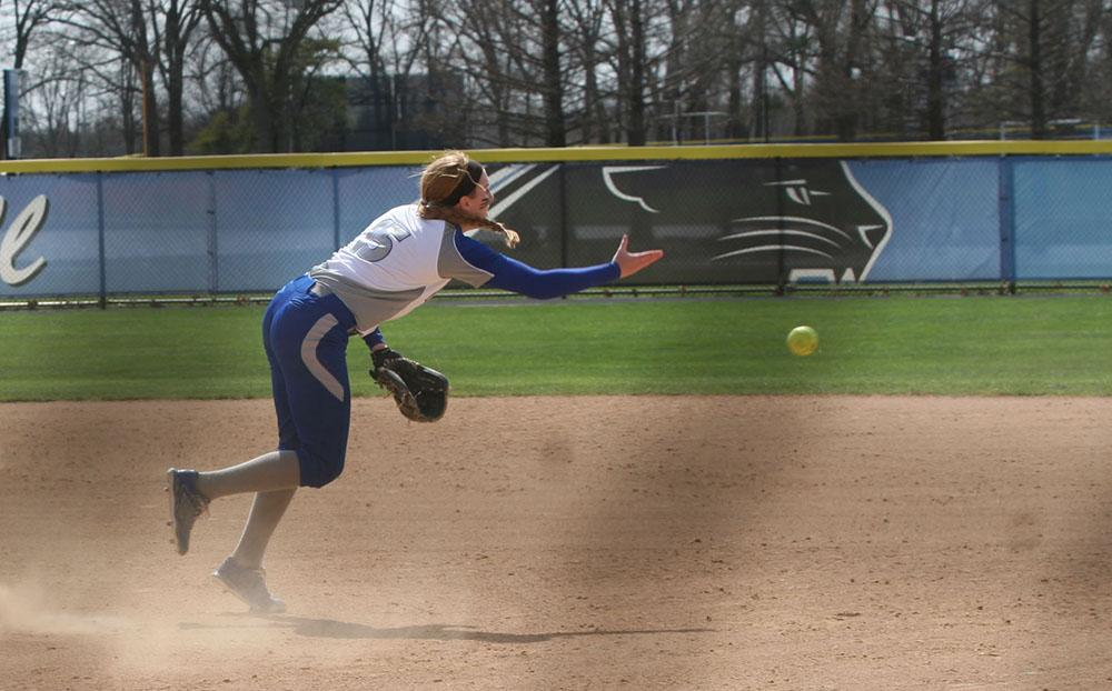 Jessica Wireman, a freshman, throws the ball to first base at the EIU vs. Jackson State softball game on Sunday at Williams field.