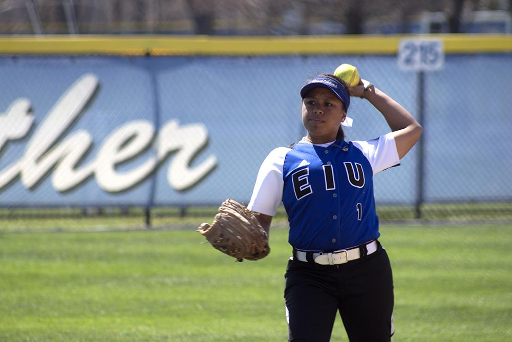 Junior Outfielder Jennette Isaac, passes the ball during the Eastern softball game Saturday against Tennessee Tech.