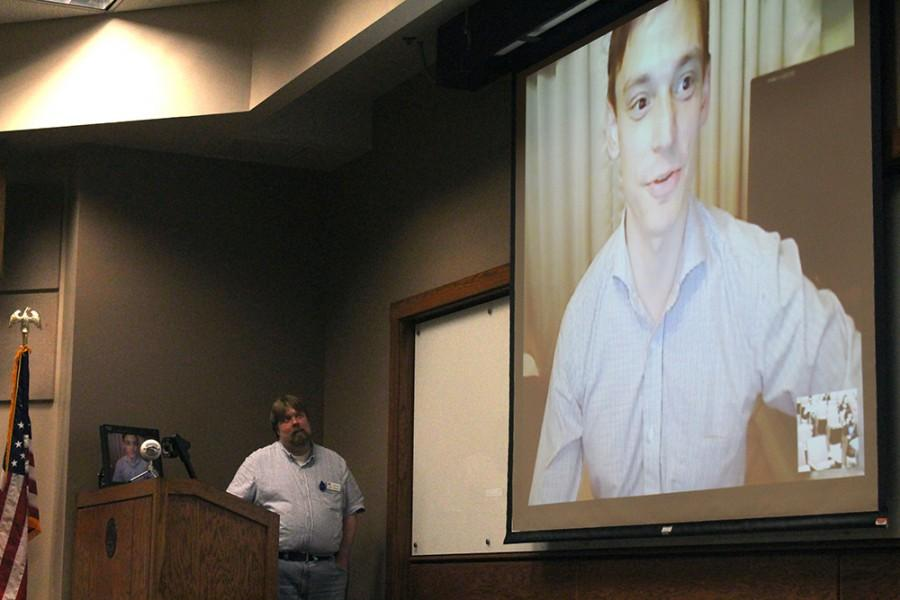 Steve Kilty, an alumni of Eastern, skypes in from Japan to the Information Workshop: Studying and Working in Asia to shares his experiences of teaching in Tokyo Tuesday in the auditorium of Lumpkin Hall.