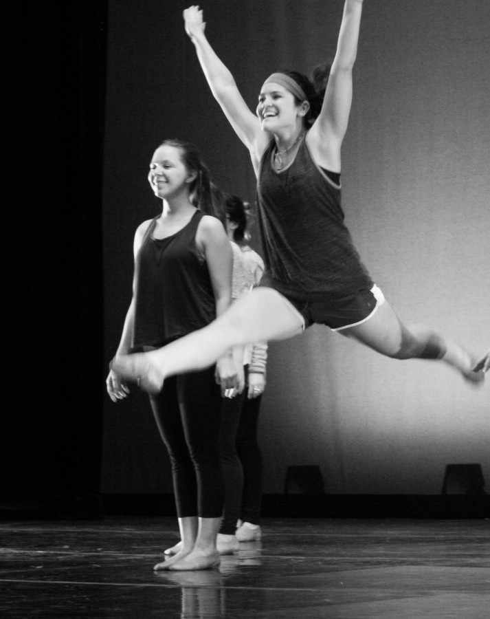 Maggie Boyle | The Daily Eastern News Studio art major and Choreographer for EIU Dancers, Mackenzie Butler, practices dance routines on Wednesday in Doudna Fine Arts Center for the annual spring performance of Dangerously In Love.