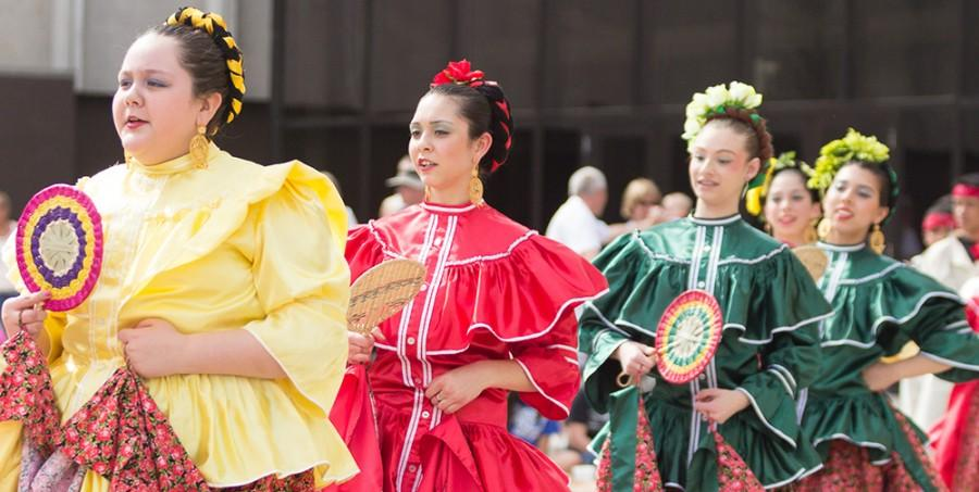 Members of the Quad City Ballet perform traditional Mexican folk dances in front of the outdoor stage during Celebration on April 26, 2014.