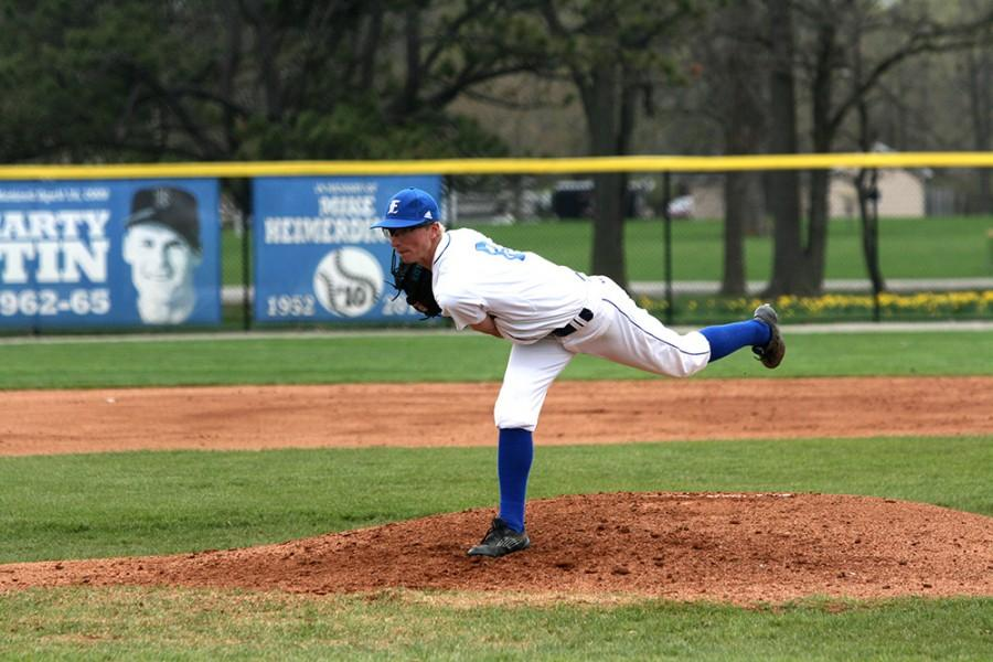 Freshman pitcher Andy Fisher, prepares to throw the ball during the Eastern men's baseball game on Saturday.