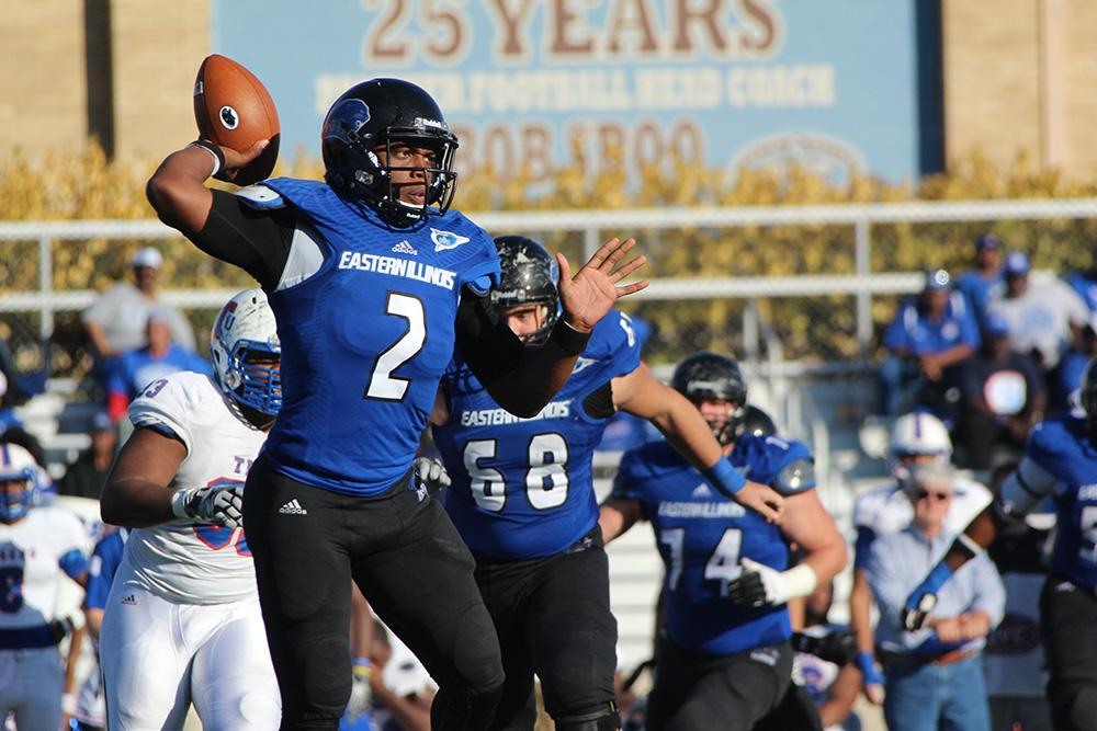 Junior quarterback Jalen Whitlow, passes the ball during the Eastern men's football team's game vs Tennessee Tech on Oct. 25, 2015.