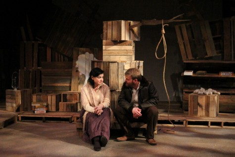 Anne Thibault, an acting professor at Eastern, and Illinois State University alum Andy Hudson interact during the EIU Theatre Arts production of