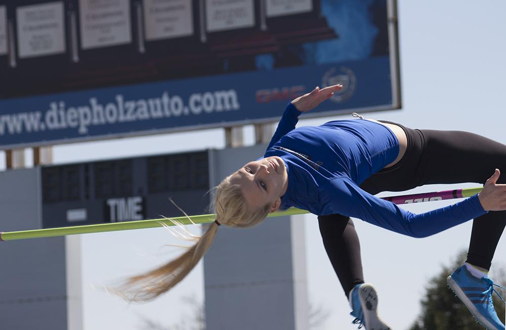 Freshman high jumper Haleigh Knapp attempts a high jump during the EIU Big Blue Classic meet on April 4.