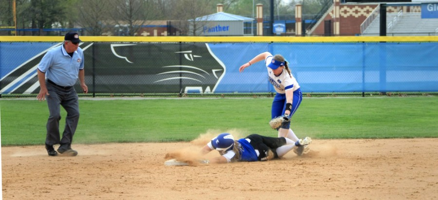 Junior+Outfielder+April+Markowski+gets+tagged+out+sliding+to+second+base+in+the+game+against+Tennessee+State+Saturday+at+Williams+Field.+The+Panthers+went+on+to+win+the+game+6-5.