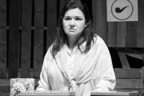 Kevin Hall | The Daily Eastern News  Anne Thibault, an actress in the play Good Person of Setzuan, portrays one of the main characters, Shen Te, in rehearshal at The Doudna Fine Arts Center Tuesday in the Black Box Theater.