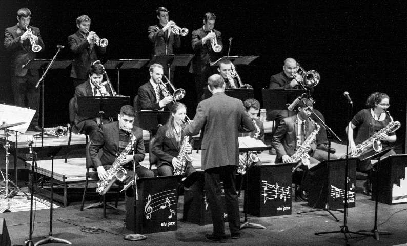 The EIU Jazz Ensemble play The Theatre in the Doudna Fine Arts Center on Dec. 4. The ensemble was also accompanied by guest Andrew Cheetham on trumpet and Mark O'Conner on saxophone.