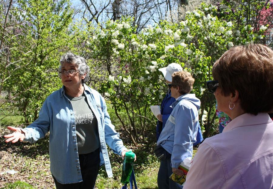 Nancy Coutant, retired Eastern biology professor, leads a tour at the Whiteside Gardens in Charleston