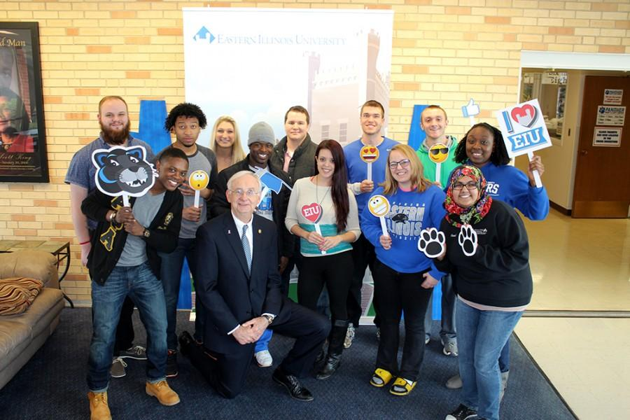   The Daily Eastern News Members of Student Government and Senate pose with President Bill Perry during the Selfies with Prez Event on March 26, 2015 in the Bridge Lounge of the Martin Luther King Jr, Unversity Union.