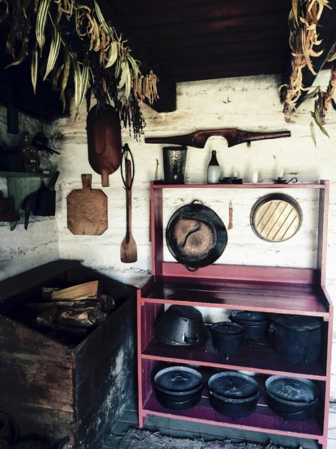 The kitchen of Thomas and Sarah Bush Lincoln is replicated in the Lincoln Log Cabin in Lerna, Ill.