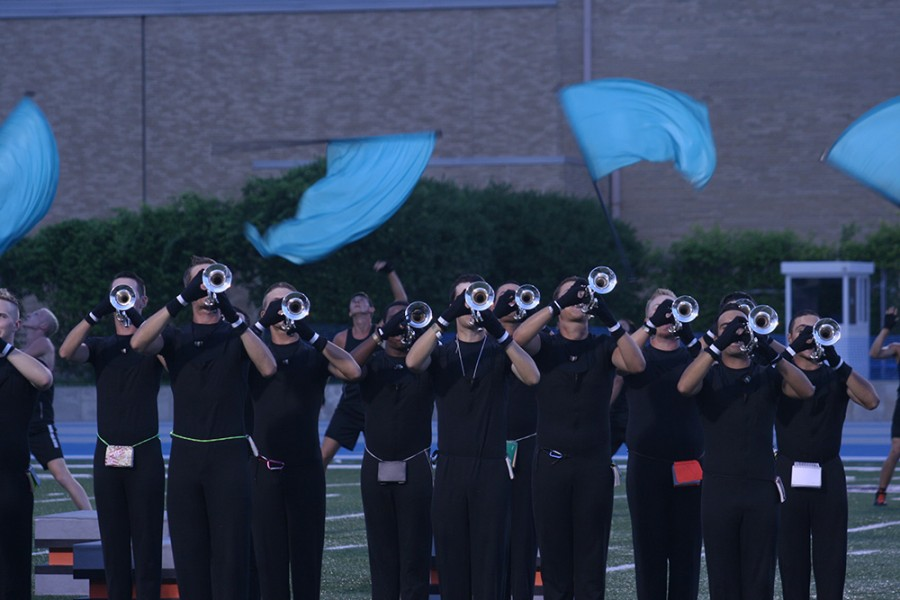 The Cavaliers Drum & Bugle Corps perform during a rehearsal Saturday at O'Brien Field.
