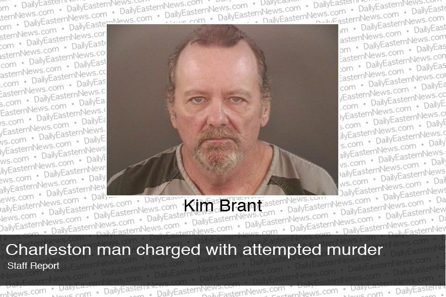 Kim Brant, 55, of Charleston, was arrested at 10:09 a.m. Wednesday on charges of attempted murder and domestic battery in connection to a woman who police found to have been stabbed repeatedly with scissors.