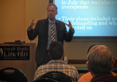 Sen. Dale Righter gives a legislative update during a Mattoon town hall meeting Tuesday in the Lumpkin Education Center.