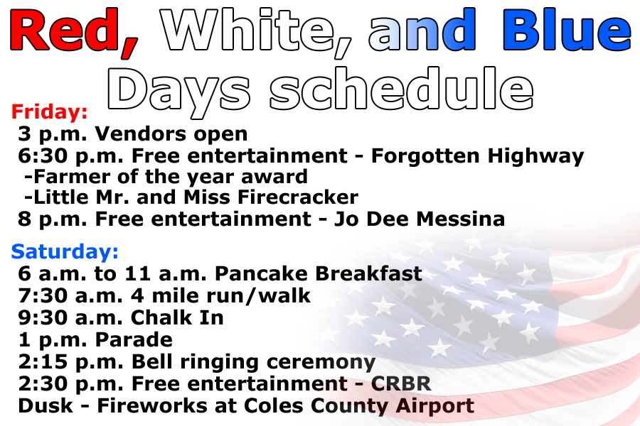 Red, White and Blue Days schedule