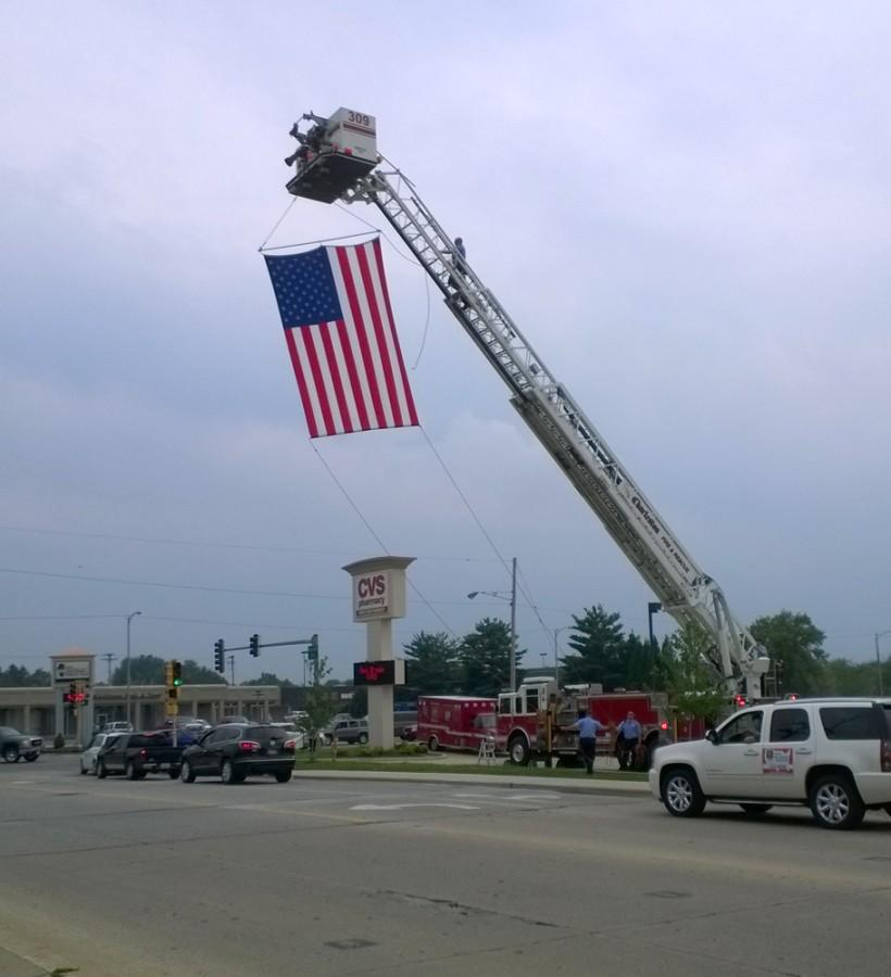 An American flag was raised above E street by CFD to tribute fallen veterans for the Vietnam traveling wall on July 1.