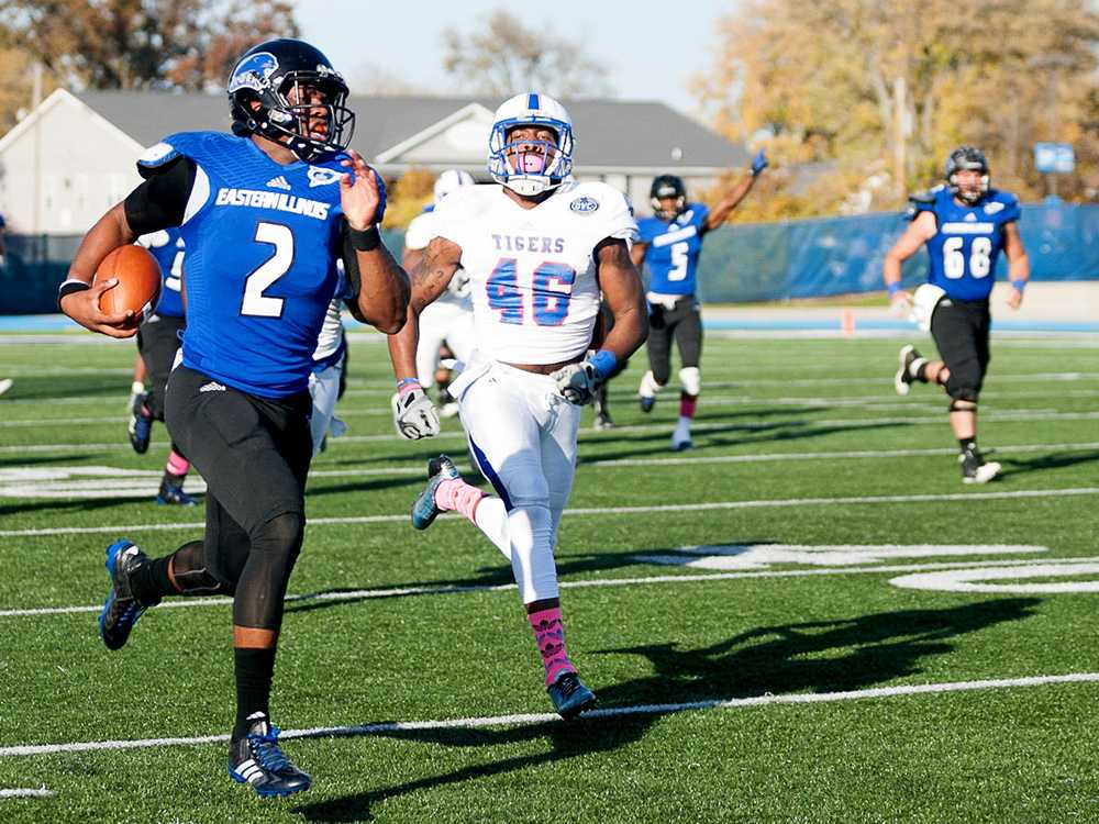 Junior quarterback Jalen Whitlow runs the ball down the field during the Panthers' homecoming game against Tennessee State on Oct. 25, 2014 at O'Brien Field.  The Panthers beat the Tigers 28-3.