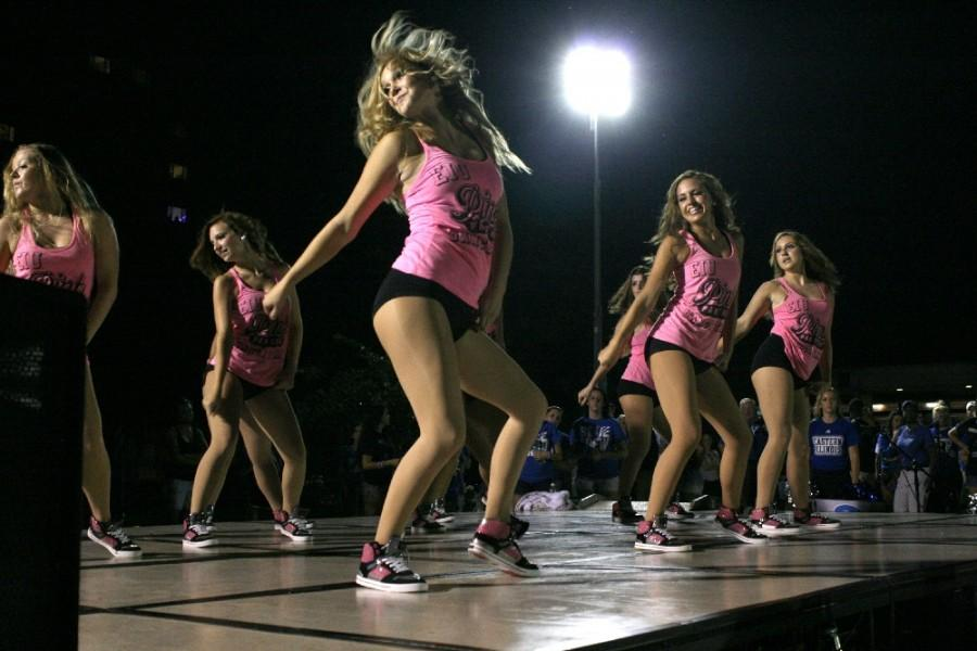 The Pink Panthers perform a dance routine during last year's First Night event in the South Quad on Aug. 24, 2014.