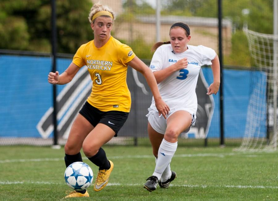 Sophomore defender Carrie Caplin runs after Northern Kentucky forward Macy Hamblin during the Panthers 6-0 loss at Lakeside Field on Sunday.