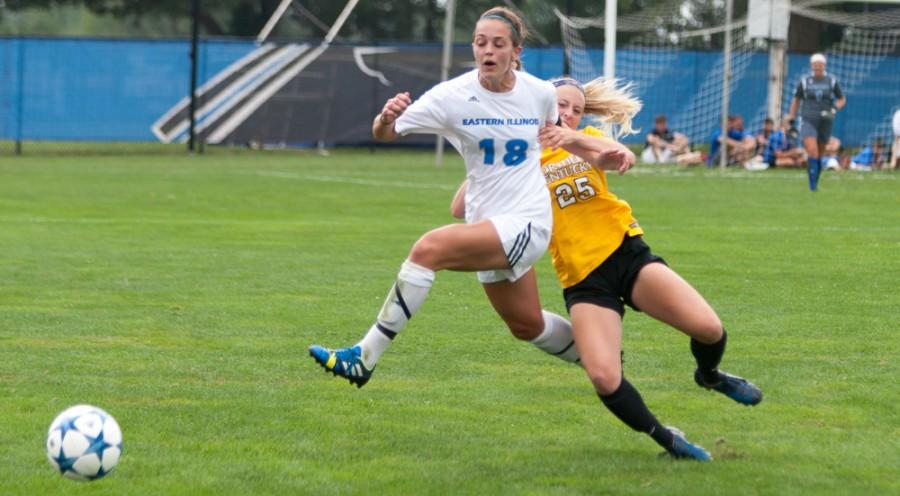 Red-shirt junior defender Lindsey Marino is grabbed by Northern Kentucky freshman Payton Naylor during the Panthers 6-0 loss on Aug. 23 at Lakeside Field.