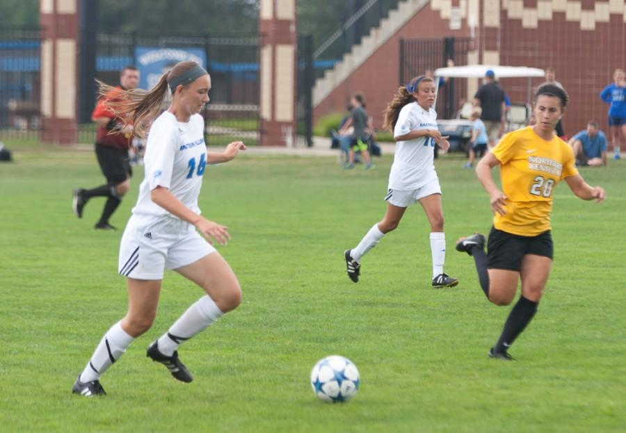 Freshman defender Kayla Stolfa moves the ball up the pitch during the Panthers 6-0 loss to Northern Kentucky on Sunday at Lakeside Field.