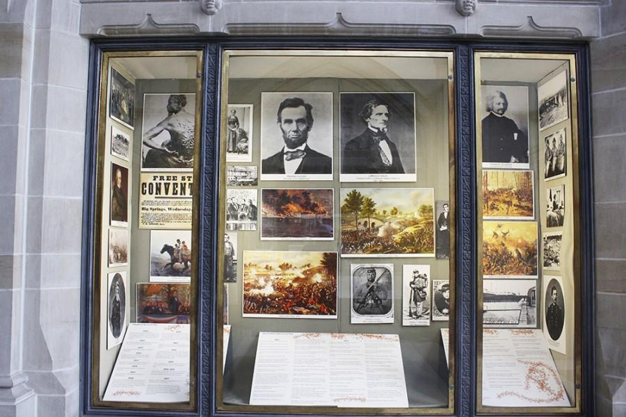 """One display of """"Lincoln: The Constitution and Civil War"""" in Booth Library, The exhibit will be fully on display in the library starting September 4th and concluding on October 16th."""