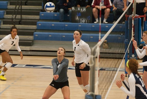 Senior libero Stephanie Wallace sends the ball up during a game on Oct. 4, 2014.