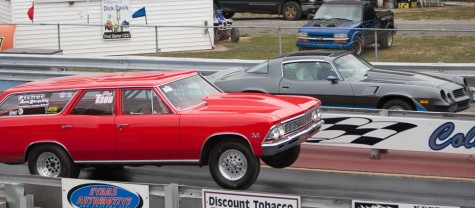 Humbolt resident Rob Fisher races his '66 Chevelle wagon on Saturday at the Coles County Dragway.
