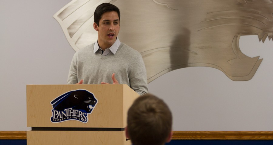 Mens soccer coach Kiki Lara is introduced as the new coach on March 10, 2015.