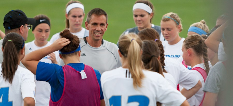 Eastern head coach Jason Cherry gives a pregame pep talk to his players.